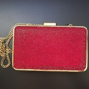Michael Kors Crystal Red Suede Leather Clutch